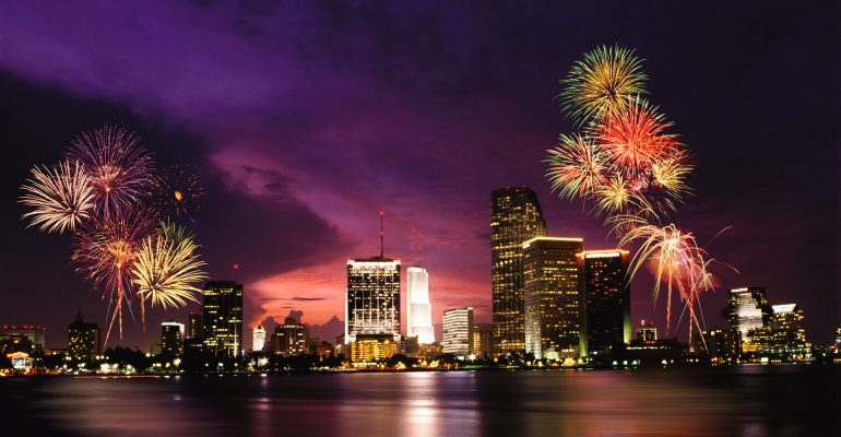 Fireworks over Miami, Florida